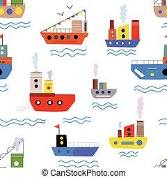 bateaux, modèle, bateaux, seamless, mer
