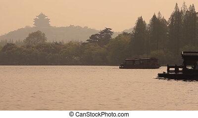bateaux, pagoda., lac, chinois