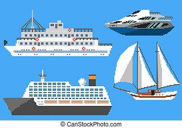 bateaux, passager, bateaux, pixel