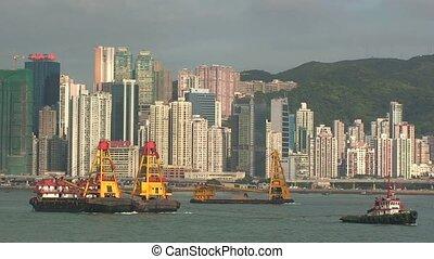bateaux, port, hong kong