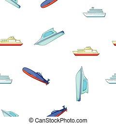 bateaux, style, bateaux, dessin animé, modèle