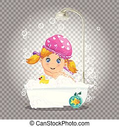 bath., prendre, mousse, bain, dorlotez fille, bulle
