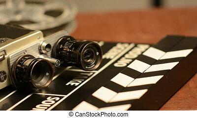 battant, mensonge, appareil photo, retro, film
