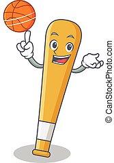 batte base-ball, basket-ball, caractère, dessin animé