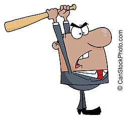 batte base-ball, homme affaires