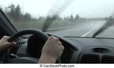 battement, averse, conduite, dos, pluie, pare-brise, essuie-glace