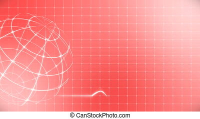 battement coeur, cardiogramme, globe, monde médical, red.