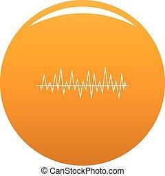 battement, compensateur, vecteur, icône, orange