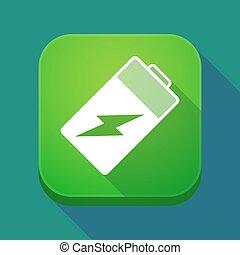 batterie, app, ombre, long, icône
