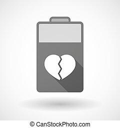 batterie, coeur, icône, isolé, cassé