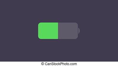 batterie, moderne, échantillon, arrière-plan animation, icône