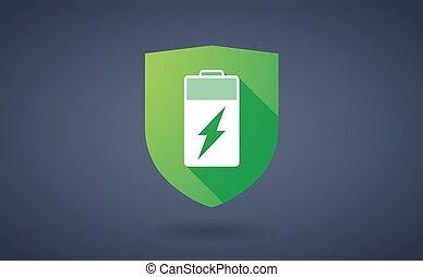 batterie, ombre, bouclier, long, icône