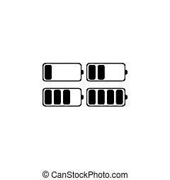 batterie, set., illustration, vecteur, arrière-plan noir, blanc, icône
