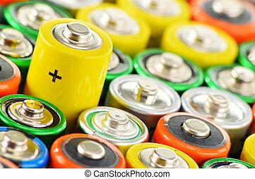 batteries., gaspillage, composition, alcalin, chimique