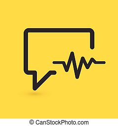 bavarder, arrière-plan., vecteur, médecine, cardiogramme, apparenté, icon., isolé, jaune, parler, illustration, bulle