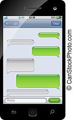 bavarder, gabarit, space., sms, smartphone, copie