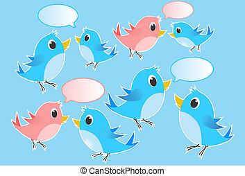 bavarder, illustration, -, oiseaux