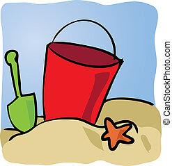 beachbucket, bord mer