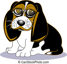 beagle, art, chien, agrafe, dessin animé