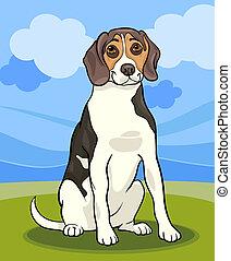 beagle, chien, illustration, dessin animé