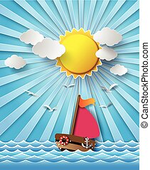 beam., soleil, nuages, bateau, voile