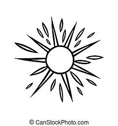 beams., griffonnage, briller, style., illustration, soleil, handdrawn, vecteur, noir, blanc