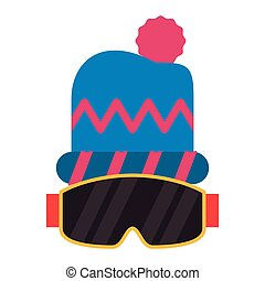 beanie, mode, hiver, googles, chapeau, accesories