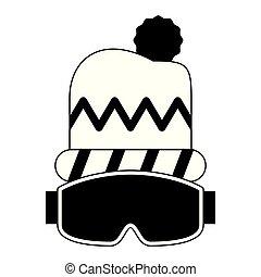 beanie, mode, hiver, noir, blanc, googles, chapeau, accesories