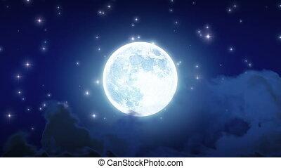 beau, éclat, fait boucle, lune