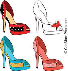 beau, élevé, ensemble, chaussures, il