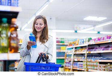 beau, épicerie, achats femme, jeune, store/supermarket