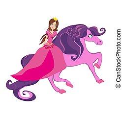 beau, équitation, cheval, princesse, fée-conte