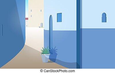 beau, été, extérieur, marocain, rue, style., day., portes, magnifique, marrakesh, plat, coloré, ensoleillé, illustration, pots., cityscape, bâtiment, murs, usines, vecteur, croissant, vue