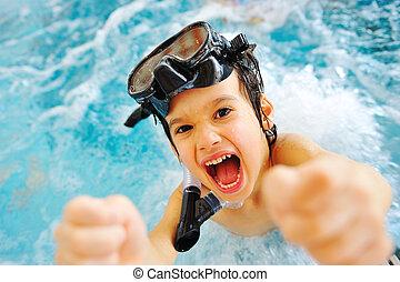 beau, été, grand, time!, piscine