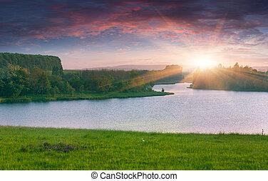 beau, été, lake., paysage, levers de soleil