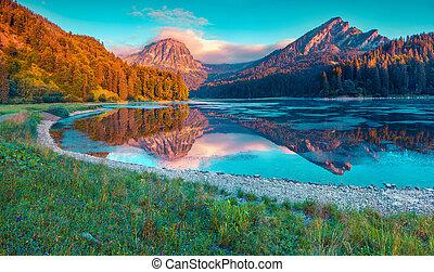 beau, été, obersee, coloré, lac, suisse, incredibly, levers de soleil
