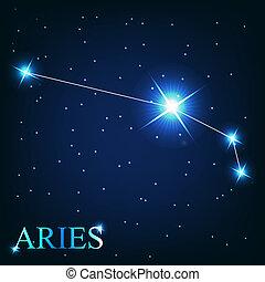 beau, étoiles, ciel, cosmique, signe, clair, vecteur, fond, bélier, zodiaque