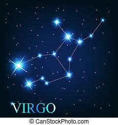 beau, étoiles, ciel, cosmique, signe, vierge, clair, vecteur, fond, zodiaque