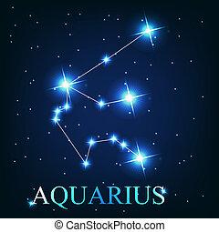beau, étoiles, ciel, verseau, cosmique, signe, clair, vecteur, fond, zodiaque