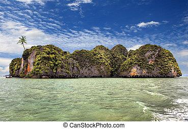 beau, île, arbre, paume, thaïlande, océan