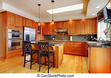 beau, île, plancher, bois dur, granit, cuisine