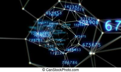beau, 1080., fait boucle, vol, points., espace, tunnel, résumé, lignes, numbers., par, fond, numérique, grid., animation., hd, 3d