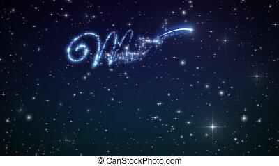 beau, 1080., fait, hiver, sky., texte, apparence, loop-able., stars., animation, joyeux, nuit, noël, hd
