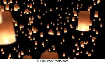 beau, 1080., festival., chiangmai, animation., yee, célébration, peng, krathong, lanternes, thailand., flotter, loy, hd, 3d