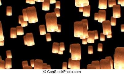 beau, 1080., yeepang, festival., animation., voler, gros plan, lanternes, vue., hd, 3d