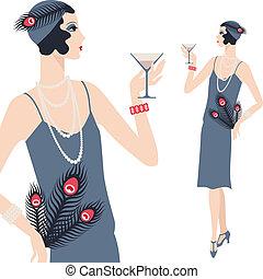 beau, 1920s, jeune, retro, girl, style.