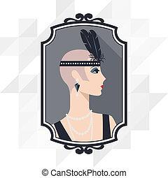 beau, 1920s, retro, fond, girl, style.