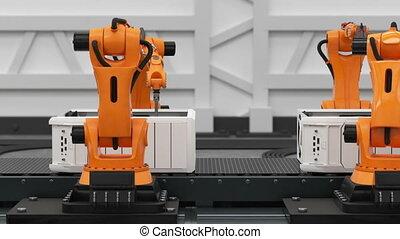 beau, 1920x1080., montage, business, convoyeur, animation., process., bras, robotique, entiers, avancé, automatisé, ordinateurs, belt., technologie, concept., hd, 3d
