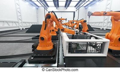 beau, 1920x1080., montage, business, convoyeur, animation., process., moderne, bras, robotique, entiers, avancé, automatisé, ordinateurs, belt., technologie, concept., hd, 3d