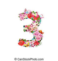beau, 3, fleurs, romantique, nombre